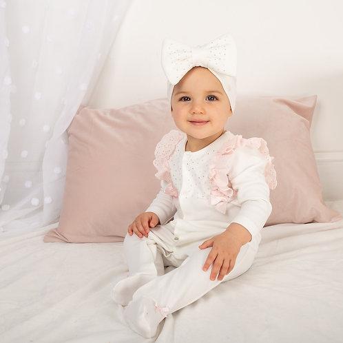Caramelo White Frill Babygrow