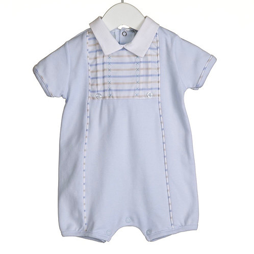 Boys Romper With Jacquard Stripe Trim