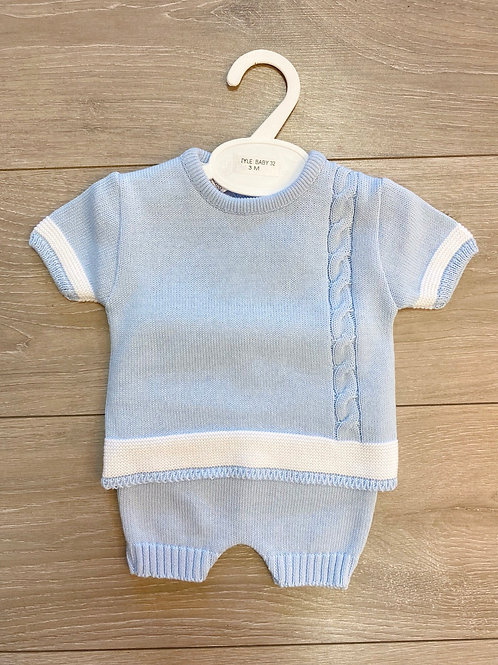 Blue & White Knit Set
