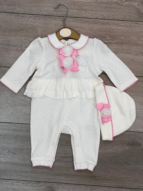 White/pink Micro Dot Sleepsuit & Hat