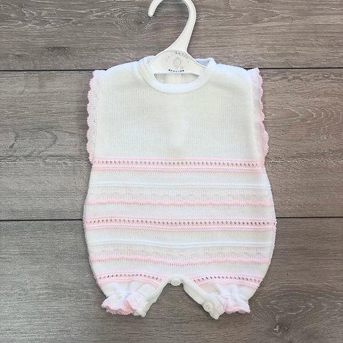 Pink & White Knit Romper