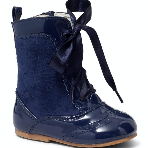 Nina Navy Suede Panel Boots