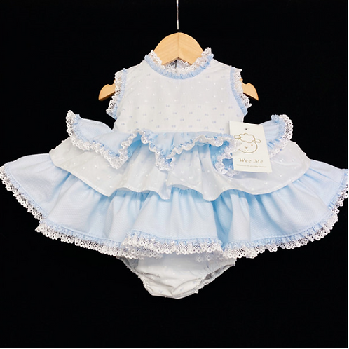 Blue Tiered Frilly Dress