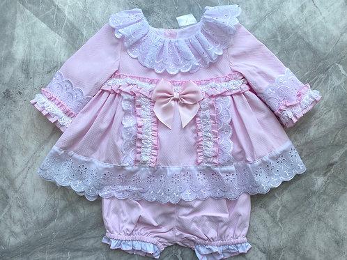 Pink Frill Neck Dress & Pants