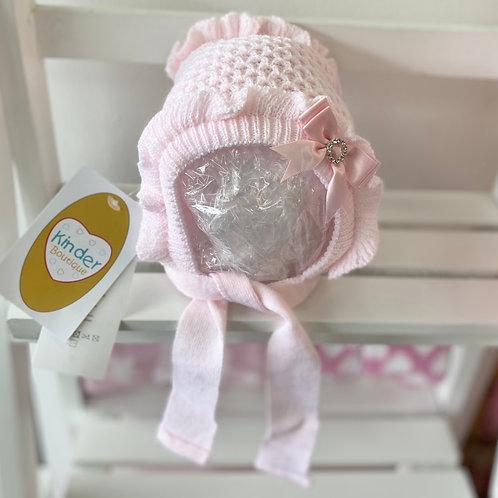 Waffle Knit Frill Bow Bonnet