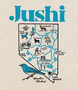 JUSHI Nevada state map shirt graphic.