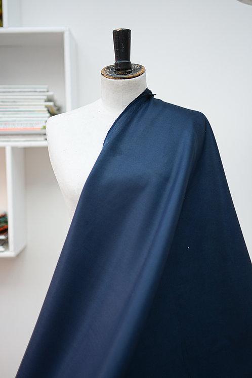 Waterafstotende stof met streeptextuur uni donkerblauw