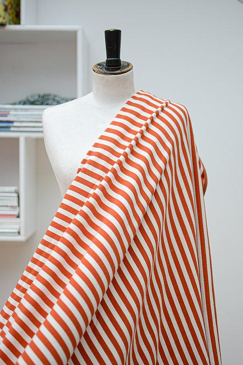 Sweaterstof ecru en oranje strepen