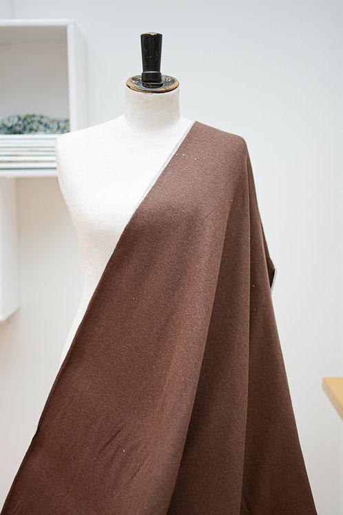 Sweaterstof uni bruin melange