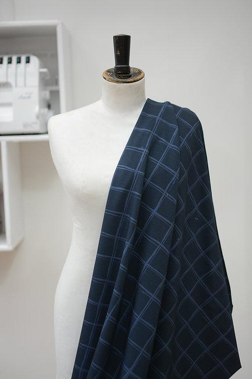 Sweaterstof blauw met ruiten