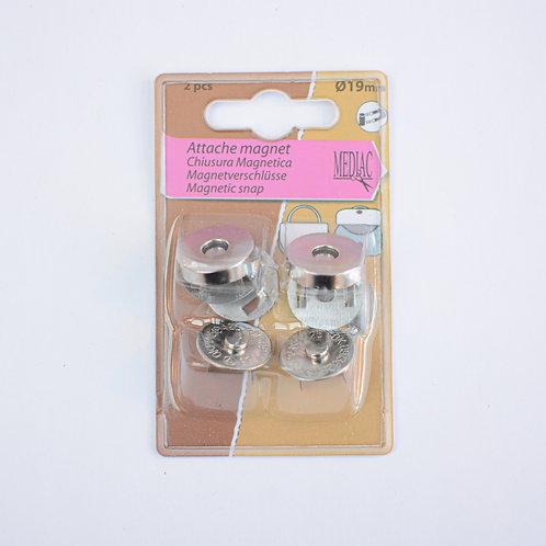 Magneetsluiting zilver 19mm per 2 stuks