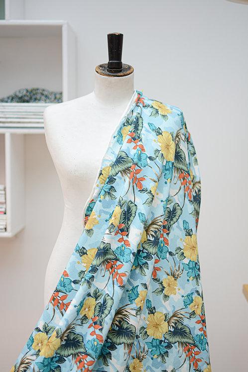 French terry blauw hawaibloemen zomersweat