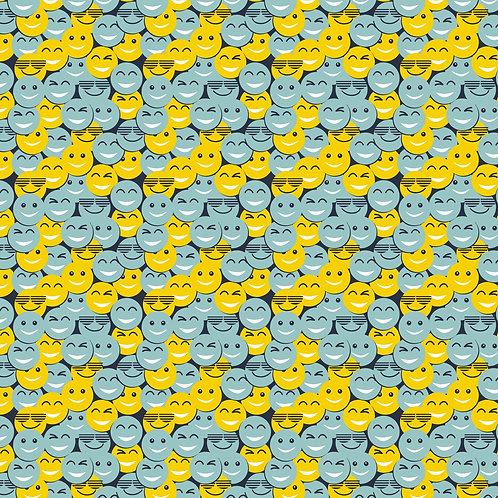 Katoen met gele en blauwe smileys