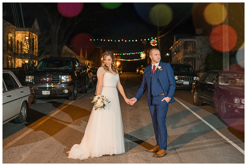 Night time wedding portrait, street photography, winter wedding, Austin & Austin Photography