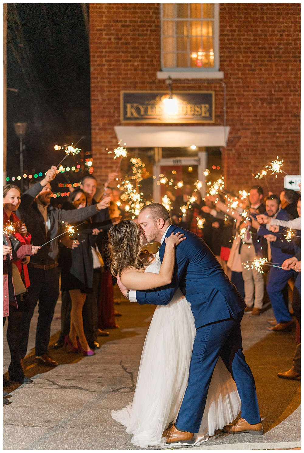 sparkler exit, epic exit, winter wedding, Kyle house, Virginia wedding, Austin & Austin Photography