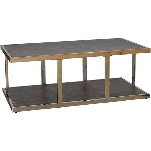 RUSTIQUE Walnut Finish Metal/Wood Rectangular Cocktail Table