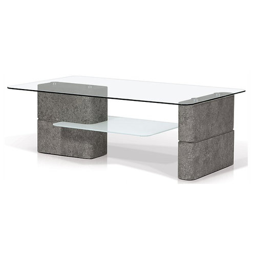 KORSON Deco Rectangular Glass Top Coffee Table