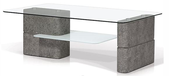 KORSON Deco Rectangular Glass Top Coffee Table