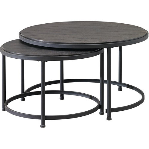 RUSTIQUE 2 Piece Grey Nested Round Cocktail Table
