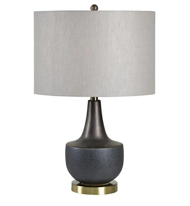 RENWIL Rogers Black Powder Coated Table Lamp, with Natural Linen Shade