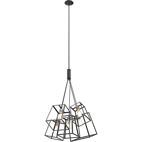 DVI Cape Breton 5 Light 21 inch Buffed Nickel and Graphite Pendant Ceiling Light