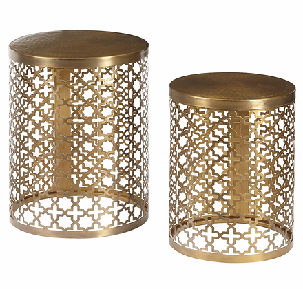 PULASKI - Round Brass Accent Tables Set of 2