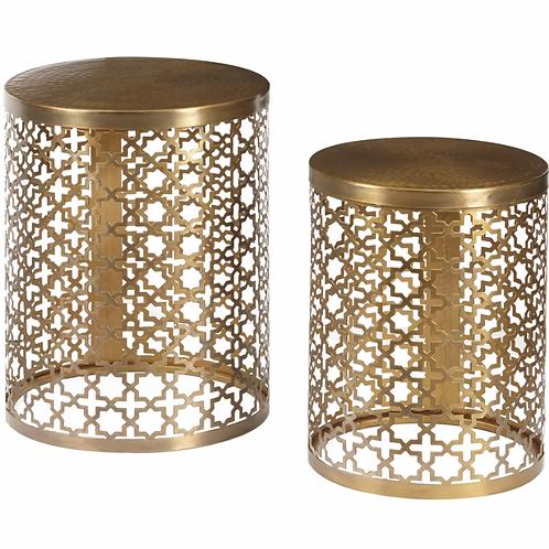 PULASKI - Round Brass Accent Tables Set of 2