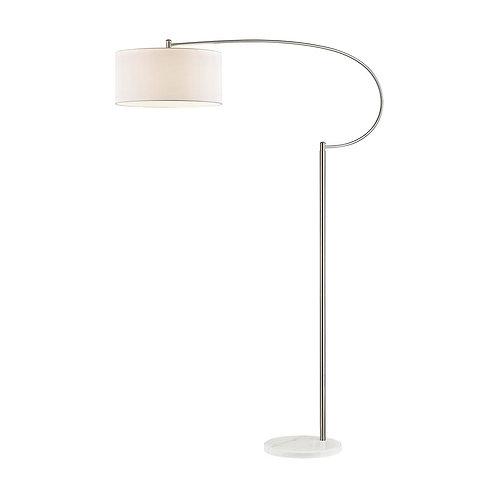 WHITECRANE Floor Lamp in Satin Nickel and White