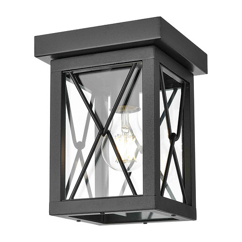 DVI Outdoor Flush Mount in Black w/ Clear Glass