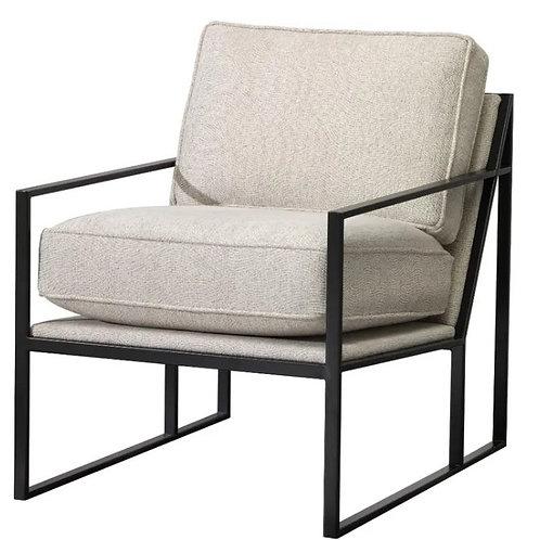 DECOR-REST FURNITURE Black Metal Struttura Ivory Chair