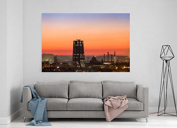 Skyline de Charleroi au coucher du soleil
