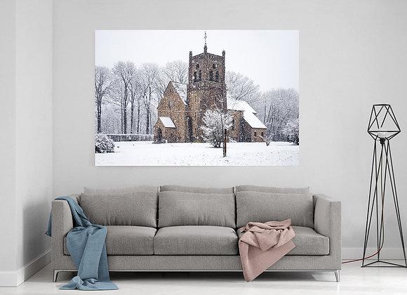 Eglise Saint-Léon de Lausprelle sous la neige