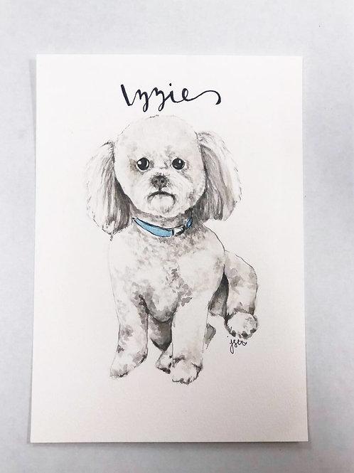 5x7 Custom Watercolor Pet Portrait