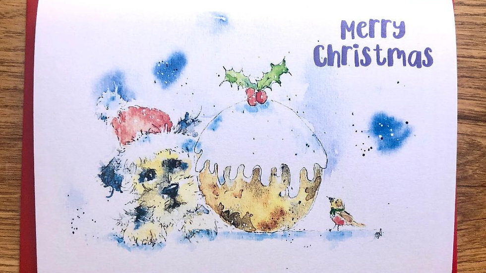 Border Terrier Christmas Cards Pack 5 'Christmas Pud'