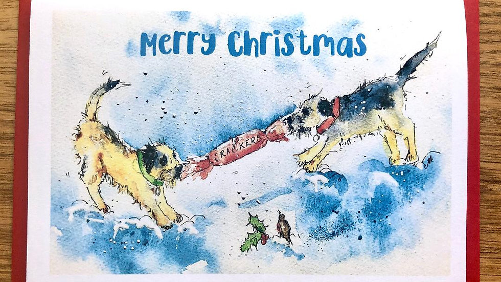Border Terrier Christmas Cards Pack 5 'Christmas Crackers'