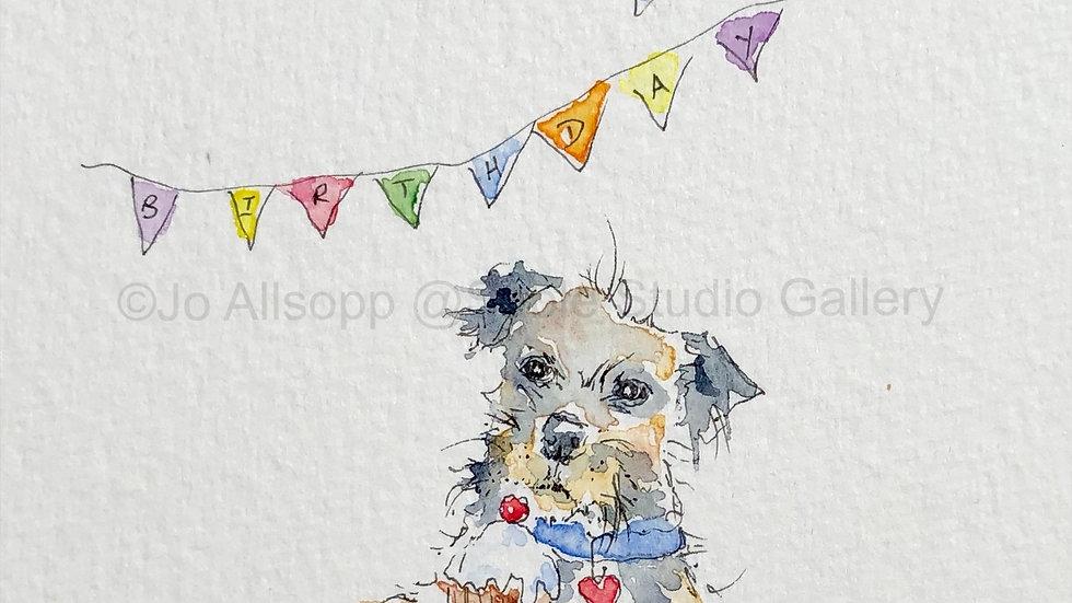 Birthday Bunting pk 5 Border Terrier Cards