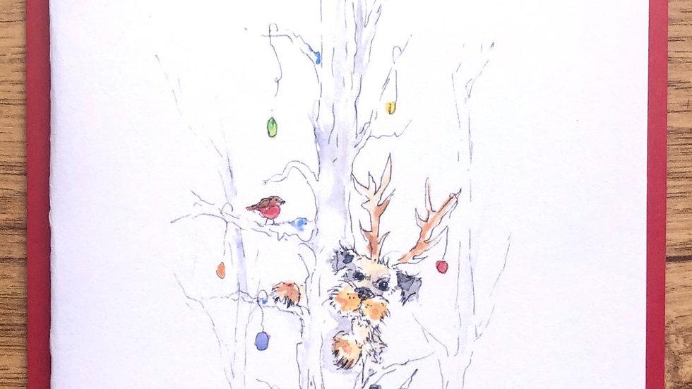 Border Terrier Christmas Cards Pack 5 'Spot the border'