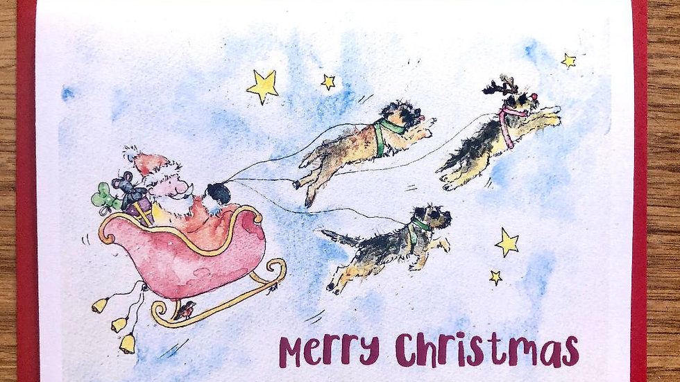 Border Terrier Christmas Cards Pack 5 'All aboard'