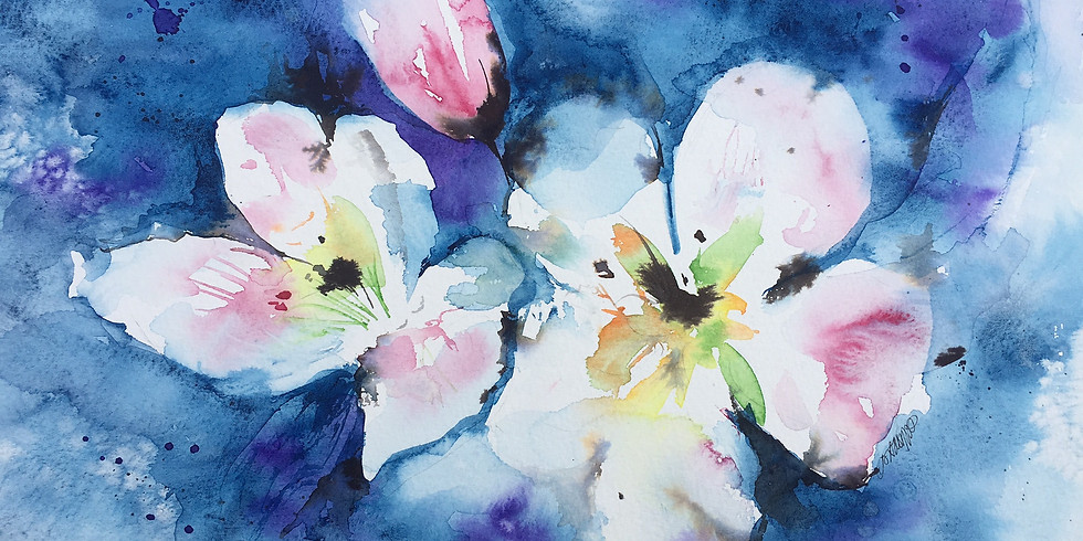 Watercolour Flower Painting & Prosecco