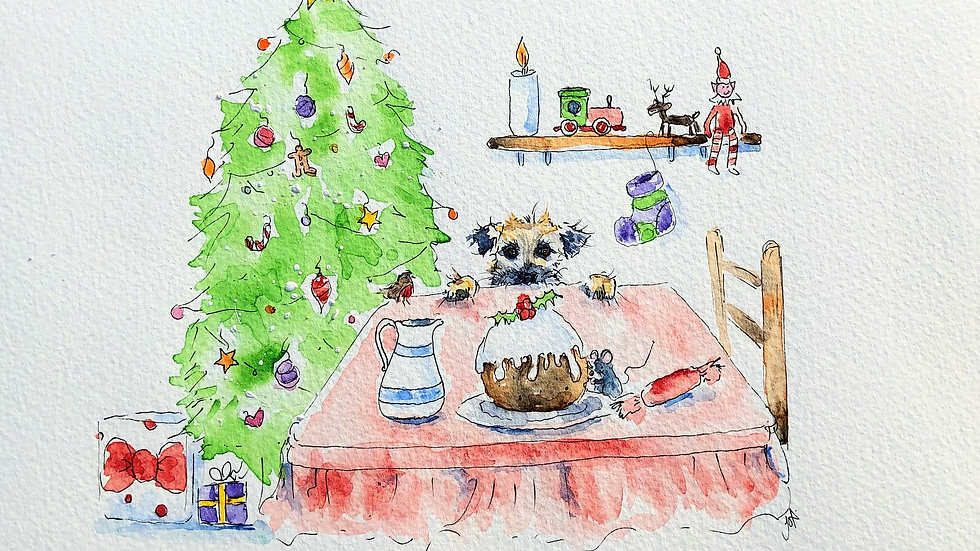 Border Terrier Christmas Cards Pack 5 'Pudding a little terrier into Christmas'