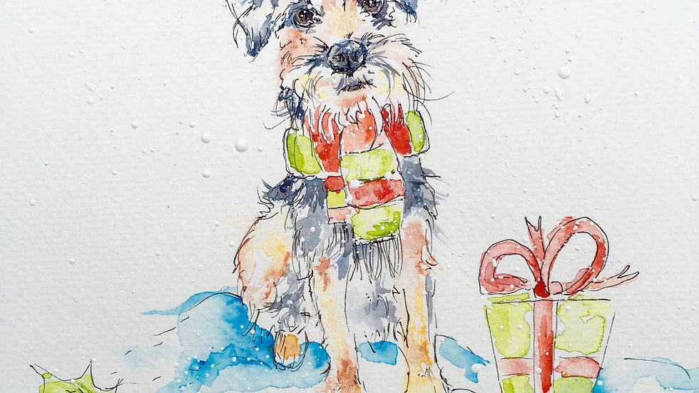 Border Terrier Christmas Cards Pack 5 'Christmas Osc'