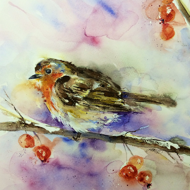 Winter Wildlife Painting Day with mulled wine & mince pies