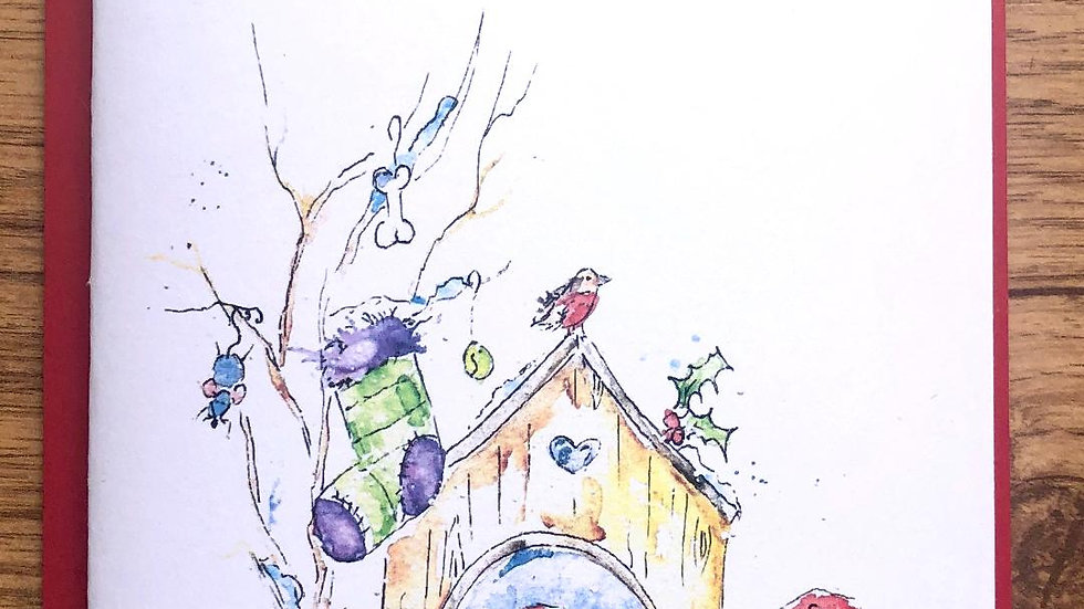 Border Terrier Christmas Cards Pack 5 'Santa Stop'