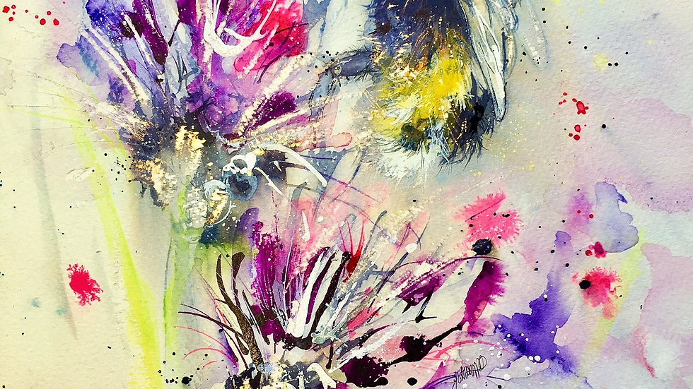 Limited edition giclee print - bee on purple flowers
