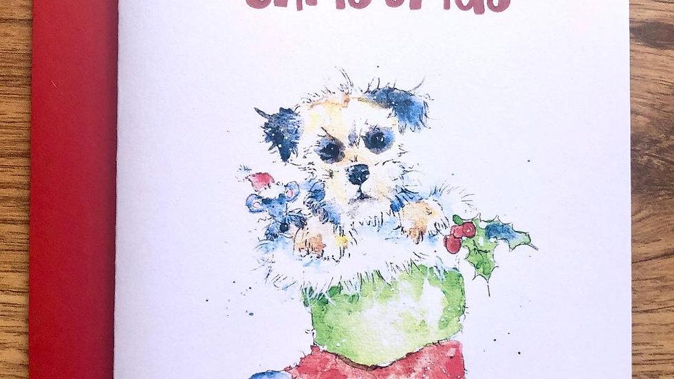 Border Terrier Christmas Cards Pack 5 'Santa's little helpers'