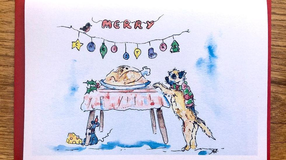 Border Terrier Christmas Cards Pack 5 'Christmas Roasting'