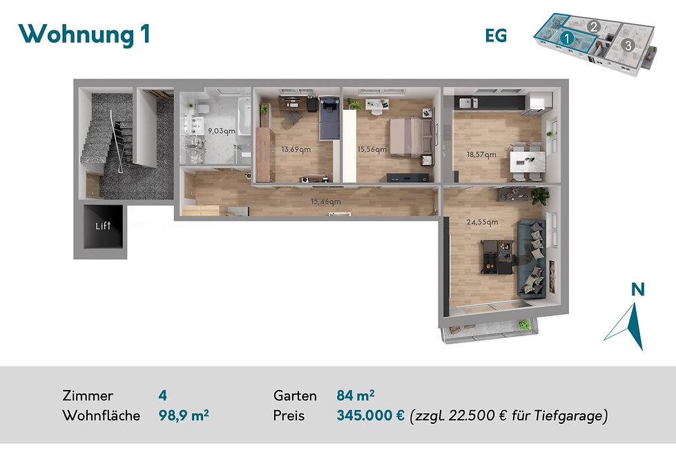 Grundriss der Neubau-Wohnung