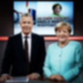 Peter Kloeppel RTL und Bundeskanzlerin Angela Merkel