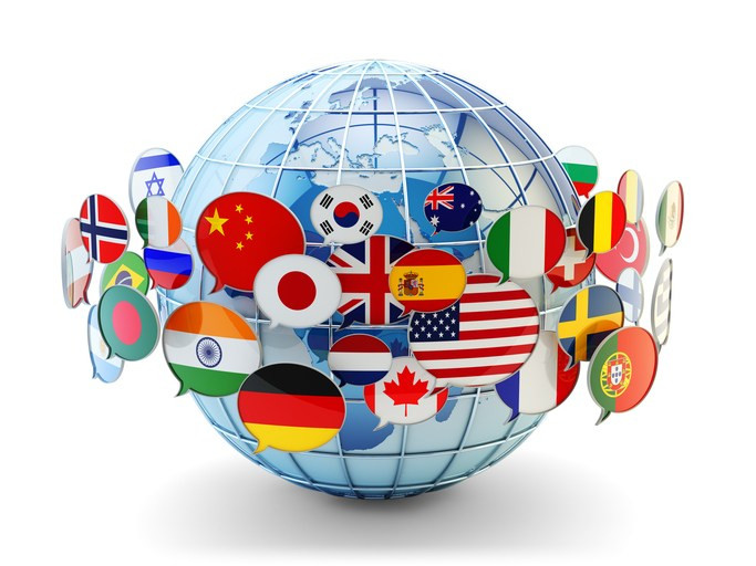 Global communication, international messaging and translation concept