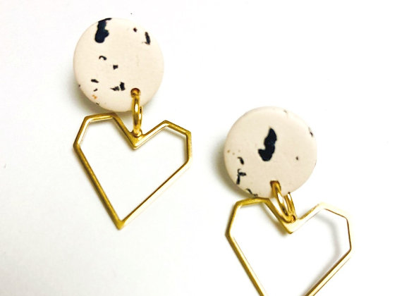 Speckled Stud with heart Dangle